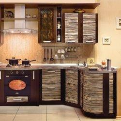 Кухня из шпона угловая коричневая