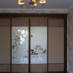 Шкаф-купе с багетом и пескоструйным рисунком(2)