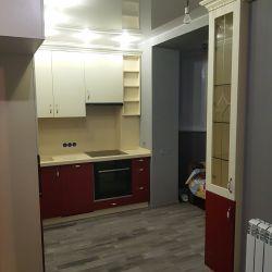 Кухня МДФ белый верх темный низ