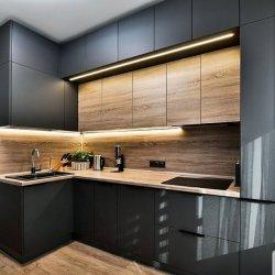 Угловая 2-ярусная кухня МДФ краска/шпон