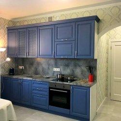 Синяя кухня МДФ наборной под дерево, комплект №1