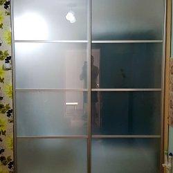 Раздвижная перегородка двухдверная, матовое стекло