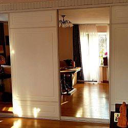 Встроенный шкаф-купе, белый с зеркалами