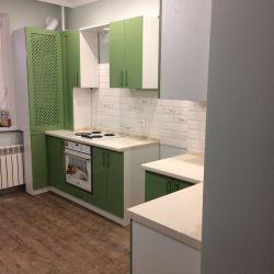 Зеленая кухня в стиле кантри (крашенный мдф) 5