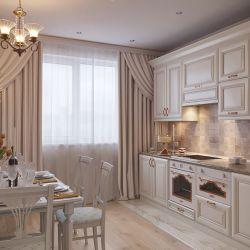 Белая кухня золотистой патиной1