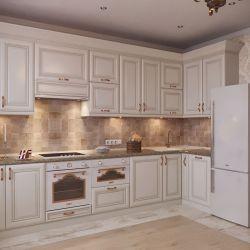 Белая кухня золотистой патиной 2