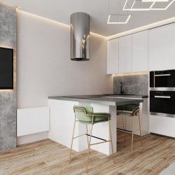 Белая кухня для квартиры-студии