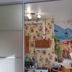 Матовая 4-х дверная раздвижная перегородка