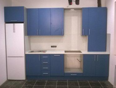 Кухня из крашеного МДФ (синяя) - 65000р.