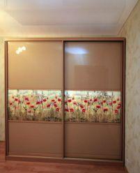 Шкаф-купе с стеклянными вставками и фотопечатью