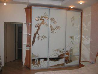 Шкаф-купе с пескоструйным рисунком Дерево