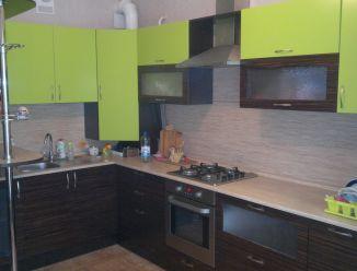 Кухня из шпона  с барной стойкой