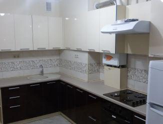 Черно-белая кухня фасад пластик 4