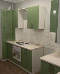 Зеленая кухня в стиле кантри (крашенный мдф) 4