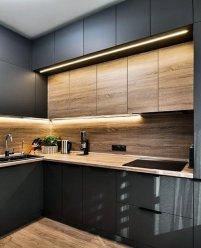 2-ярусная кухня МДФ краска и шпон