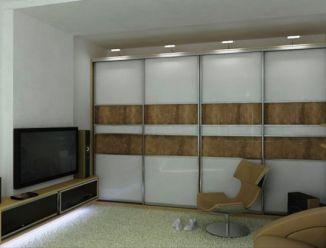 Шкаф-купе стеклянные вставки и подсветка