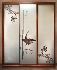 Шкаф-купе с пескоструйным рисунком, Птица