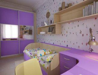 Фиолетовая детская с шкафом-купе