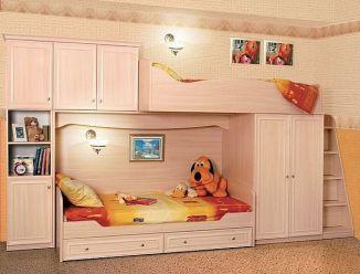 Стенка двухярусная с кроватями и шкафами