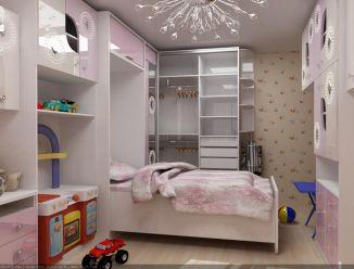 Розовая детская с глянцевыми шкафами