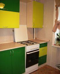 Кухня пленочный МДФ желтозеленая