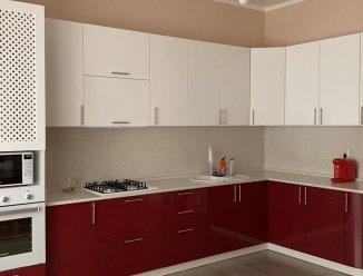 Угловая красно-белая кухня, МДФ