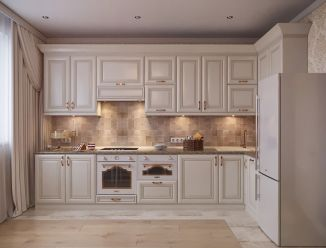 Белая кухня золотистой патиной