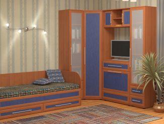 Угловой шкаф с местом для TV и детская кровать