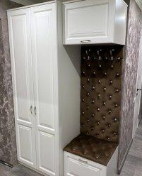 Белая мебель для прихожей, МДФ, каретная стяжка