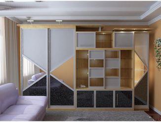 Стенка(горка) и шкаф-купе с геометрическим фасадом